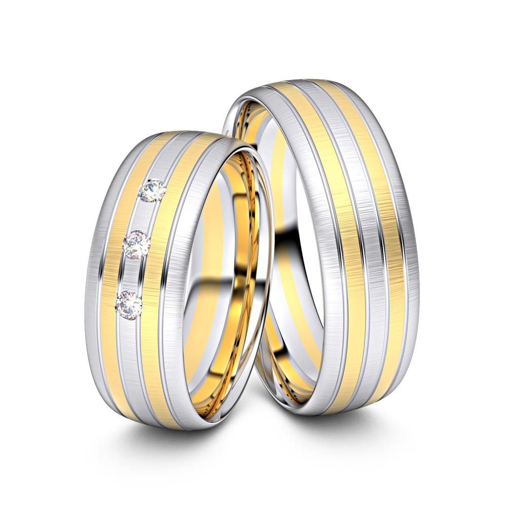 Trauringe Gladbeck 585er Gelb-/Weißgold - 0830